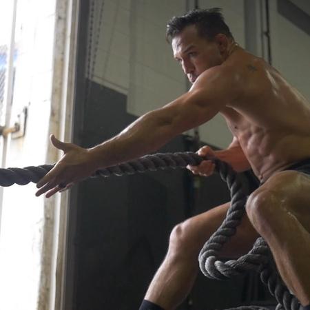"Michael Chandler on Instagram ""workoutoftheday - Heavy rope sled pulls 4x15 yards Overhead plate lunge 4x8each leg Single arm battlerope slam 4x..."