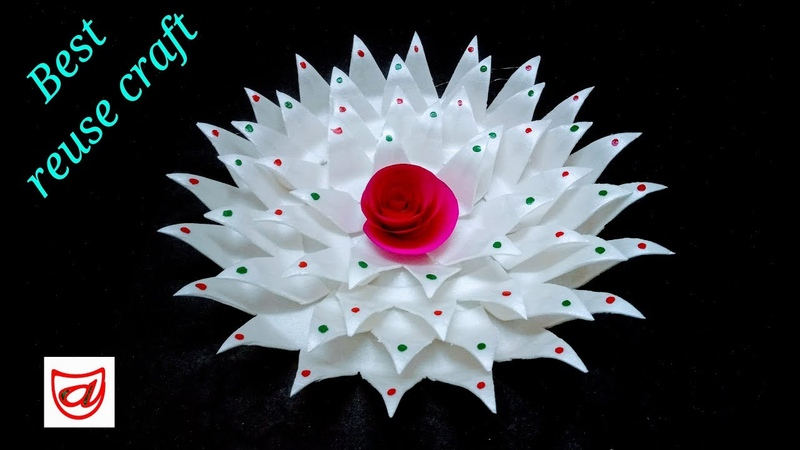 Home decorating flower from Disposable plate | DIY Thermocol sheet craft