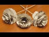 DIY Розы из газеты своими руками. Розы из бумаги. Цветы из бумаги. Мастер класс