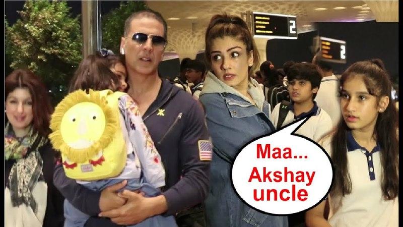 Bollywood EX-Couples Akshay Kumar And Raveena Tandon With Their Families At Airport
