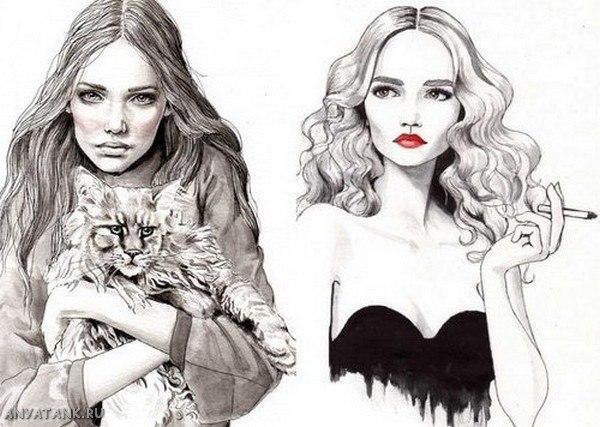 рисованные красивые картинки девушек