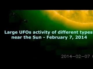 Большая активность НЛО различных типов возле Солнца - 7 февраля 2014