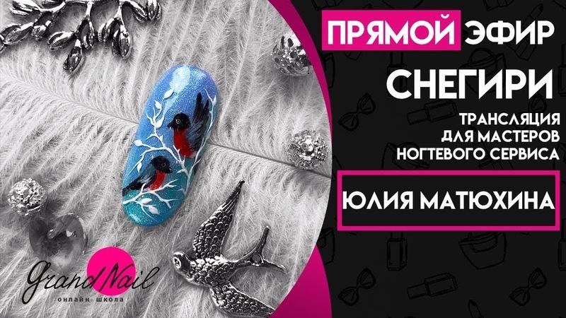 Новогодний Дизайн Ногтей Снегири Трансляция Юлии Матюхиной GRAND NAIL