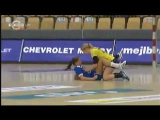 Handball Women - Two Handball Girls Fall And Land In An Awkward Position