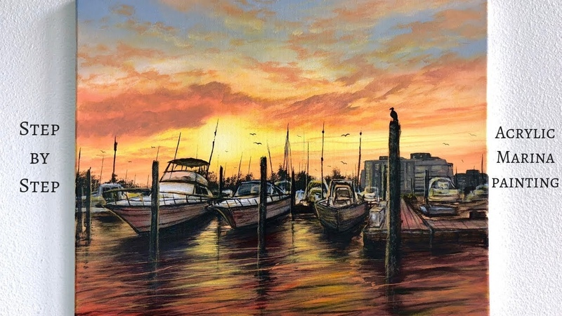 Boat Marina STEP by STEP Acrylic Painting (ColorByFeliks)