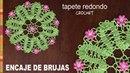 Encaje de Brujas tapete redondo con flores popcorn tejido a crochet Tejiendo Perú