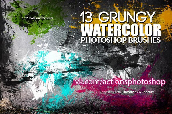 Пресет Кисти - Мазки 13 Grungy Water color для lightroom