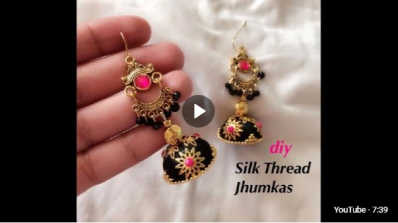 How to make designer silk thread jhumkas__Making beautiful silk thread earrings