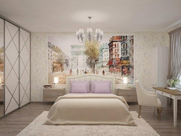 Светлая спальня с фреской и местами для фотографий. Дизайн интерьера спальни разработан с использова… (3 фото)