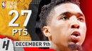 Donovan Mitchell Full Highlights Jazz vs Spurs 2018.12.09 - 27 Pts, 5 Rebounds!
