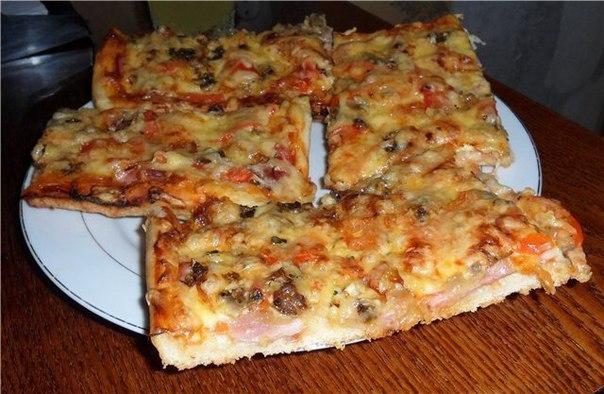 пицца с мясом рецепт в домашних условиях в духовке пошаговый рецепт с фото