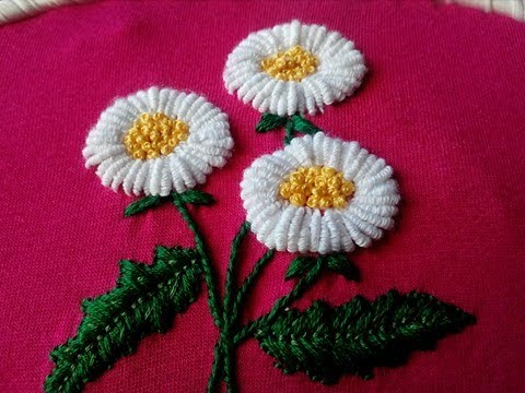 Bullion stitch daisy flower embroidery   Margaritas en Puntada Rococo   Hand embroidery