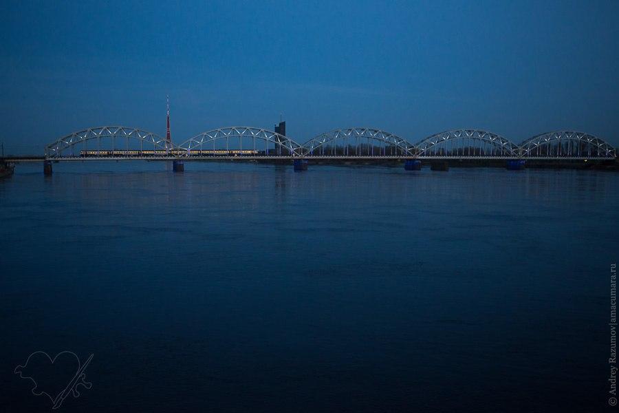 Латвия Ночная Рига