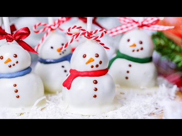 【雪が降ってきた❄️】雪だるまのケーキポップ
