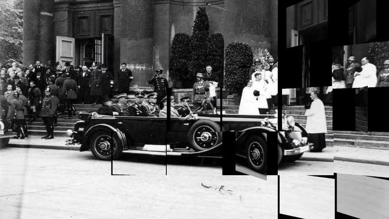 A Hitler podczas uroczystości pogrzebowych ku pamięci J Piłsudskiego
