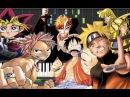 Bleach, Naruto, Katekyo Hitman, Fairy Tail, Yu-Gi-Oh!, Seiya, One Piece (Synthesia Piano Tutorial)