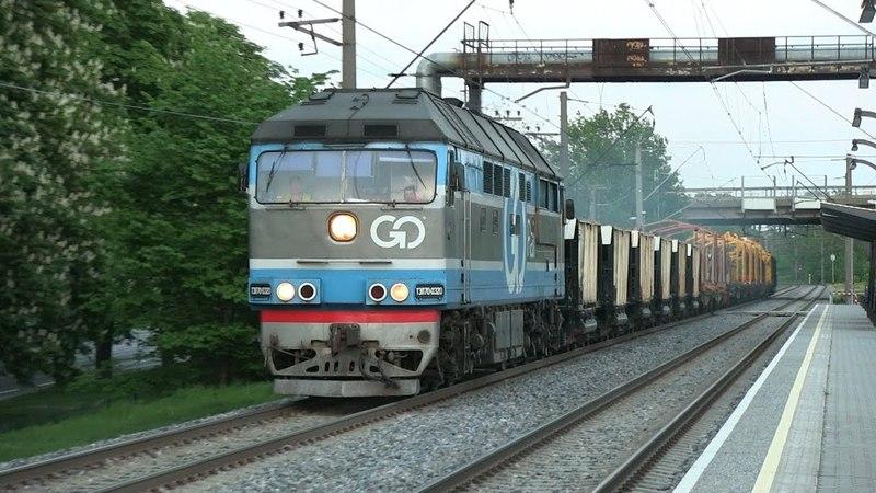 Тепловоз ТЭП70-0320 с хозяйственным поездом / TEP70-0320 with track maintenance train