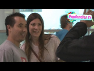 Jennifer Carpenter greets a fan while enjoying a night at the movies at Arclight in Hollywood