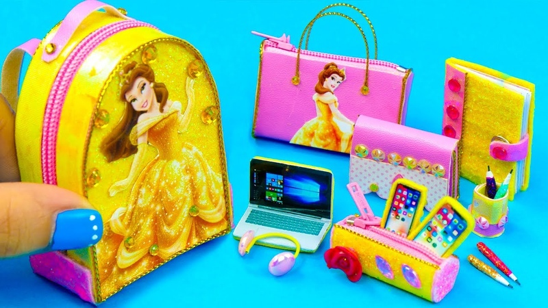 DIY Miniature Belle School Supplies ~ Backpack, Glitter Pen, Pencil Case