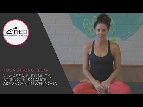 Yoga Vinyasa Strong Flow, Flexibility, Strength, Balance, Advanced, Power Yoga 45 Mins