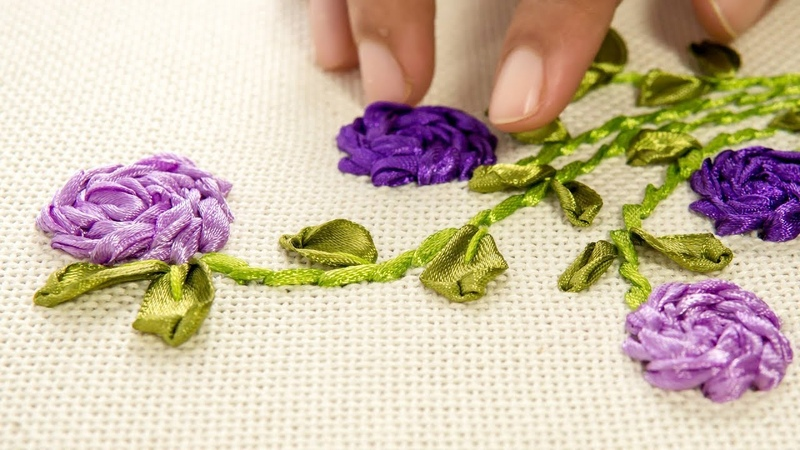 Hand Embroidery Ribbon Flowers on Clothes | Stitching Ideas