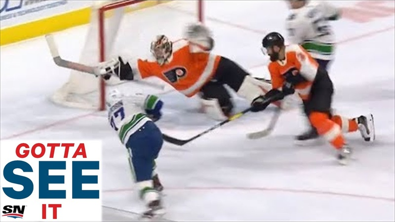 GOTTA SEE IT Flyers' Carter Hart Dives Across Crease To Rob Nikolay Goldobin