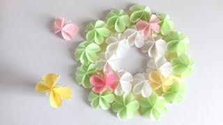 【折り紙・コピー 用紙】簡単!かわいい蝶々と花 (リース)Paper Easy Cute Butterfly and flower