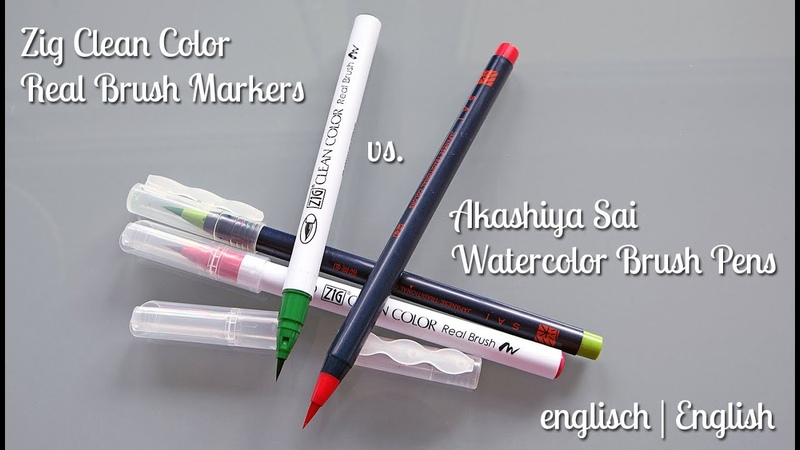 Zig Clean Color Real Brush Markers vs. Akashiya Sai Watercolor Brush Pens (English   englisch)
