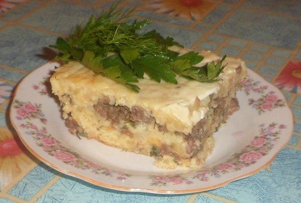 Картоп езбесі және тартылған ет