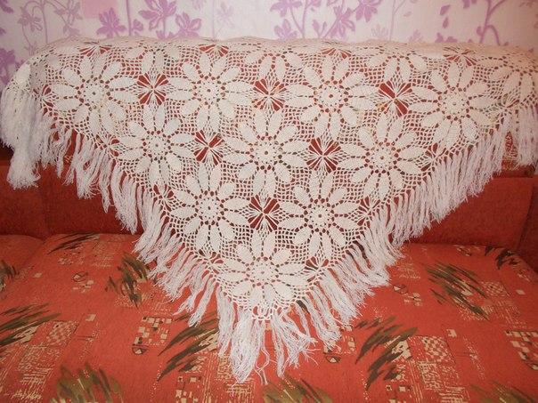 вязание крючком шали шарф