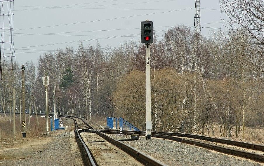 Выходной светофор Ч4 Дата: 4.04.2012.  Станция Солигорск.  Скуратов Андрей.  Автор.