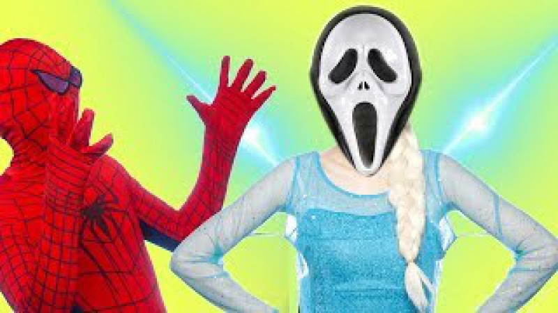 💀 Frozen Elsa and Baby Vampire ghost Attack - Vicar Prayers Superhero Fun Video for kids