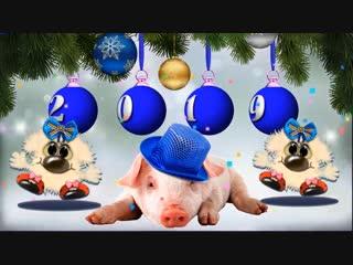 Зажигаем! Новый 2019 год! Прикольное поздравление и пожелание с новым годом! Год свиньи !