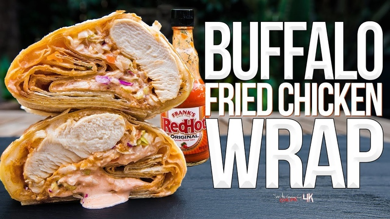 Buffalo Fried Chicken Wrap SAM THE COOKING GUY 4K