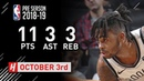 D'Angelo Russell Full Highlights vs Knicks - 2018.10.03 - 11 Pts, 3 Ast, 3 Reb!