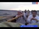Реконструкторы из клуба «Копьё» идут на ладьях по Волге