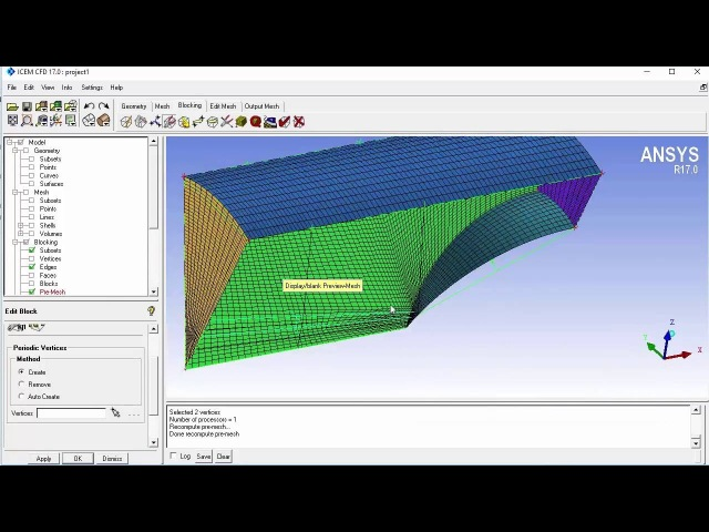 Defining periodicity in ICEM CFD and Fluent (3/4)