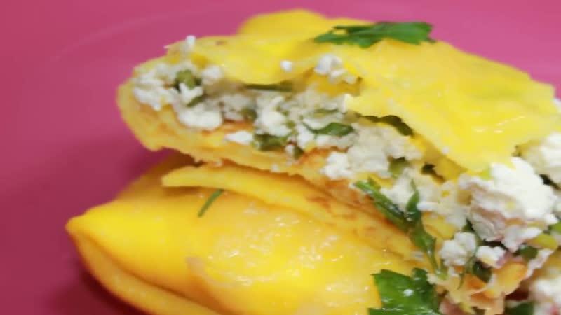 Очень вкусный завтрак. Конвертики с творожком, зеленью и сыром