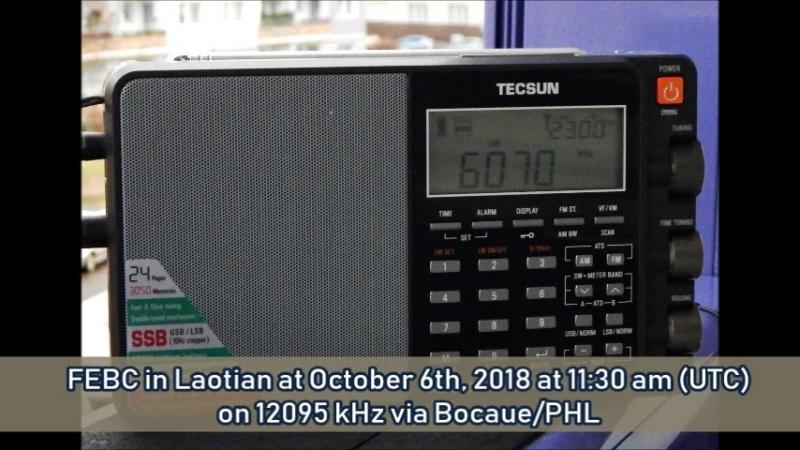 FEBC in Laotisch am 06.10.2018 um 11.30 Uhr (UTC) auf 12095 KHz via Bocaue/PHL