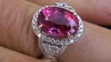 TOP GEM 6.27 Carat VVS VIVID Pink Tourmaline &amp Diamond Ring Solid 14K Gold
