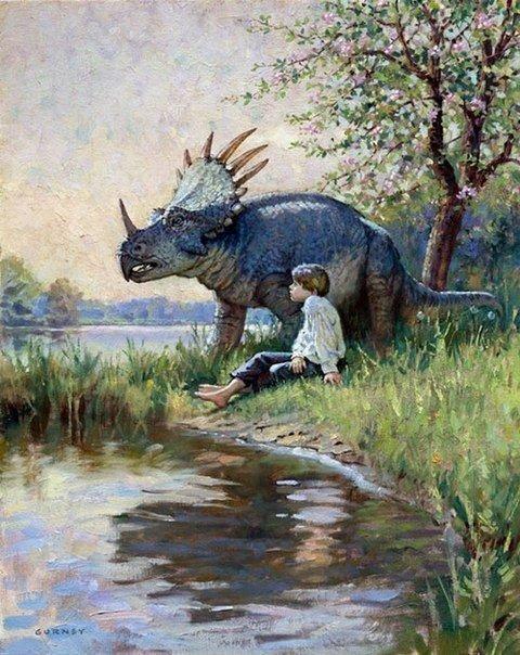 Мальчик и трицератопс. Картина маслом, XX век.
