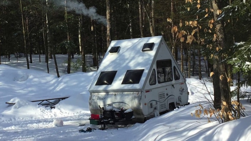 Aliner camper with our Jeep Wrangler on a Winter Camping Trip to Hancock Campground Lincoln NH смотреть онлайн без регистрации