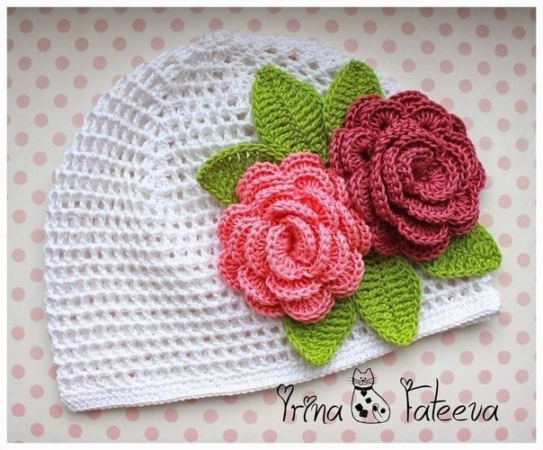 Панамка с розами крючком, схема (3 фото) - картинка