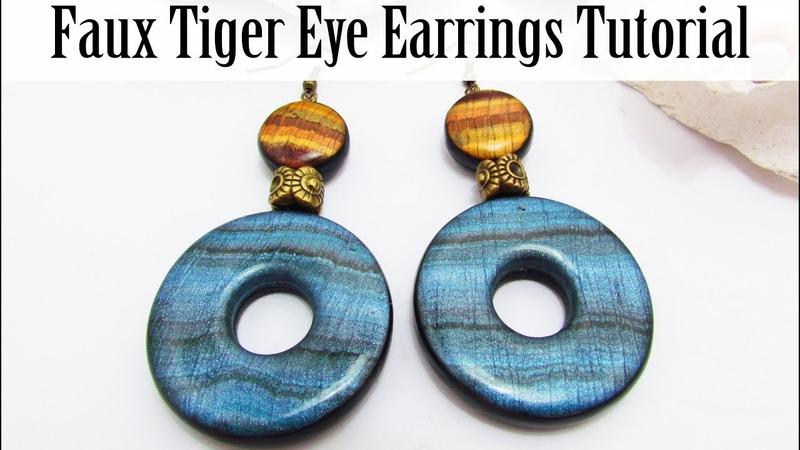 Polymer Clay Project: Faux Blue Tiger Eye Earrings Tutorial
