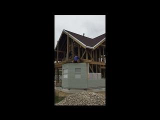 Фасадные отделочные работы на каркасном доме по индивидуальному проекту д. Дегтярицы. Свой Терем. т. (4855) 222-744