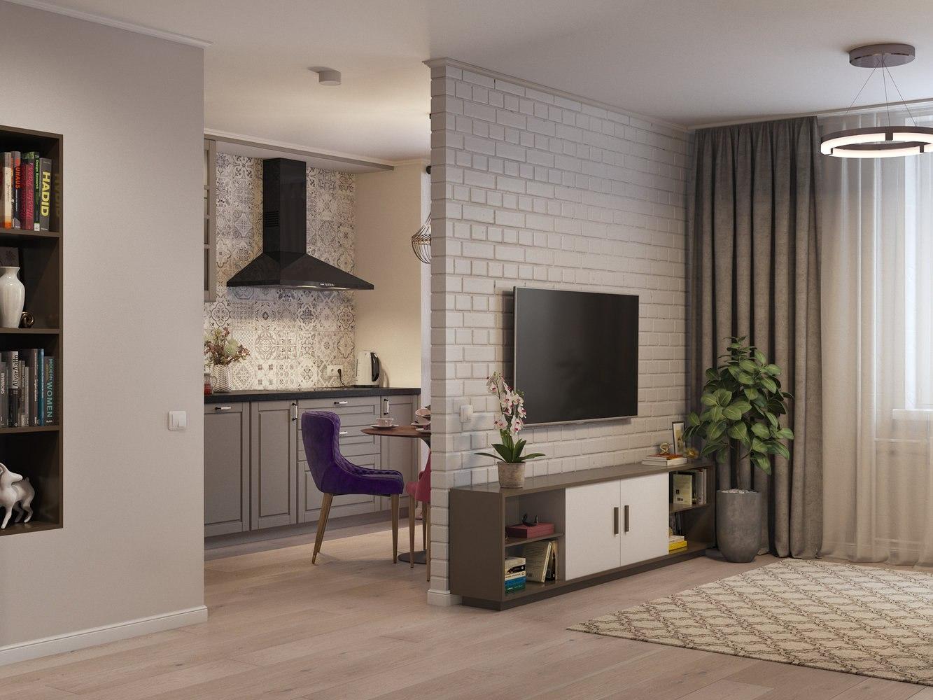 Проект однокомнатной квартиры для молодой девушки.