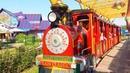 Дети катаются на ПАРОВОЗИКЕ Аттракционы и КАРУСЕЛИ в ПАРКЕ СКАЗКА
