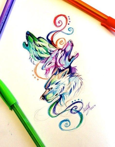 Anime wolfs арт волки