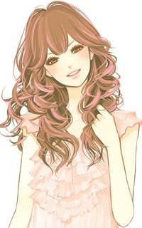 Pretty cartoon girl with brown hair