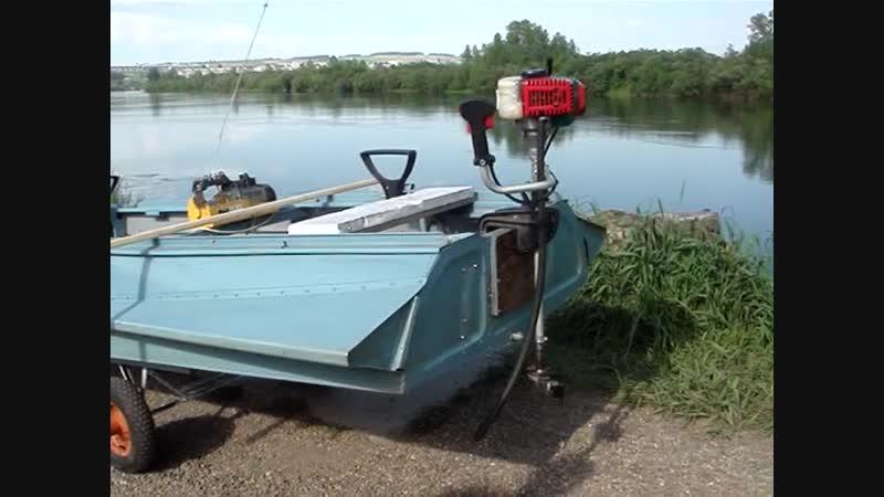 Мотолодка - двигатель от мотокосы на лодку